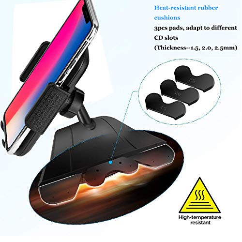 CD Slot Car Phone Mount Holder - Universal CD Slot Phone Holder for Car Compatible iPhone X 8 Plus 7 Plus 6s 6 Plus 5S Samsung Galaxy S5 S6 S7 S8 S9 S9+ Google Huawei HTC etc - Black by YipinNuo (Image #3)
