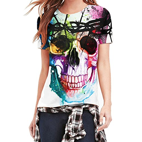 LAEMILIA Damen Mädchen T-Shirt Tops Bluse 3D Print Schädel Kurzarm Hemd Tank Skull (EU 40, Skull)