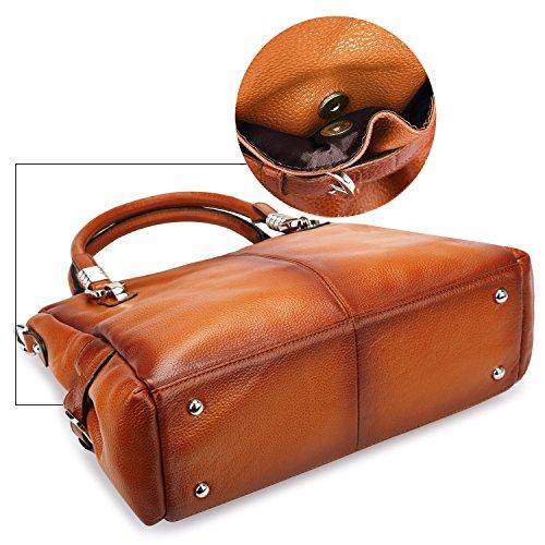 S-ZONE Women's Vintage Genuine Leather Tote Shoulder Bag Top-handle Crossbody Handbags Ladies Purse (Brown) by S-ZONE (Image #4)