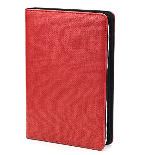 Chris-Wang 1Pk PU Woven Pattern Zipper Binder Business Zippered 6-ring Portfolio Planner -Filler Paper, Pagefinder Ruler, Calculator, Clear PVC Card Bag Included (A5, Red) ()