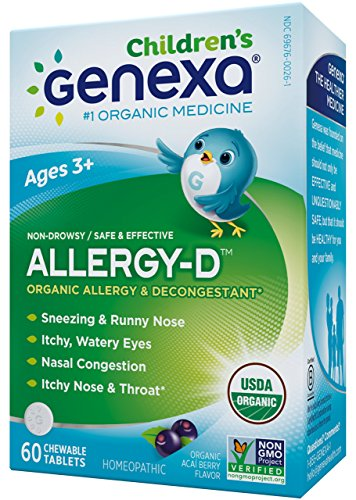 Genexa Homeopathic Allergy for Children: The Only Certified Organic Kids Allergy & Decongestant Medicine. Physician Formulated, Natural, Non-GMO Verified & Non-Drowsy (60 Chewable Tablets) - Non Drowsy Decongestants