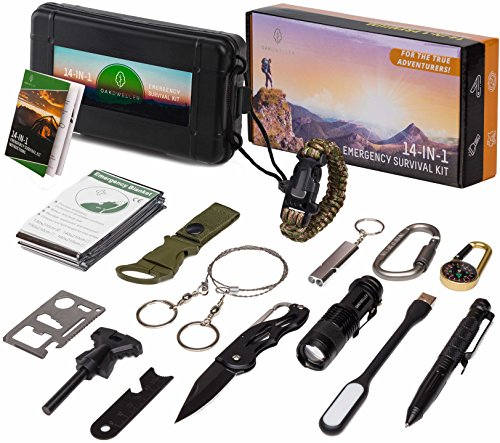 Oak Dweller 14 in 1 Emergency Survival Kit - Ultimate EDC Survival Gear Tool Fire Starter, Whistle, Flashlight Camping, Backpacking Any Outdoor Activity – Ideal Gift Women Men by Oak Dweller