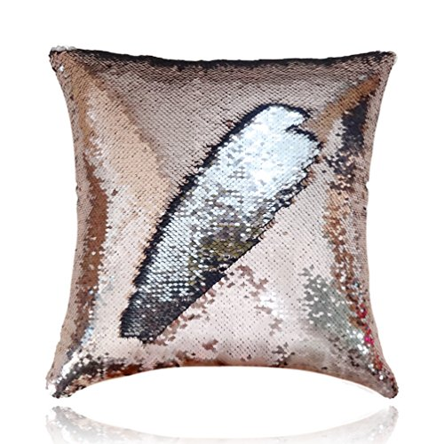 San Tungus 14 Inch x 14 Inch Mermaid Sequin Pillow with Insert,Sequin ReversibleCushion Throw Pillow (Rose Gold and -