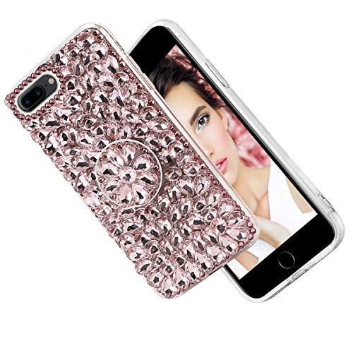 iPhone 7 Plus Case, 3D Handmade Shining Crystal Rhinestone Bling Glitter Sparkle Hard Back Case with 360 Degree Ring Holder Bracket Shockproof Protective Case for iPhone 7 Plus/iPhone 8 Plus Pink