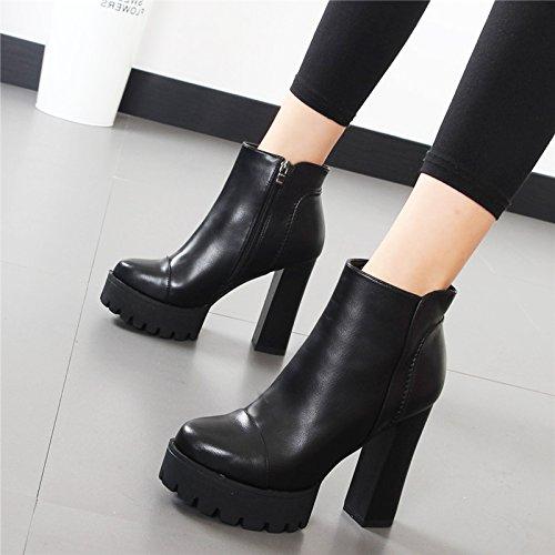 HBDLH Zapatos 12Cm BAI7QD6 de Mujer/Grueso Y Corto Botas Hembra BAI7QD6 12Cm 9c8ee5