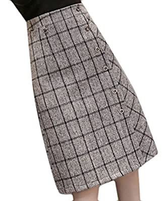 Cruiize Women's Elegant Eyelet Flared High Waist Wool Plaid Midi Skirt