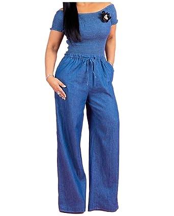 Amazon.com: ainr - Pantalones vaqueros largos para mujer ...