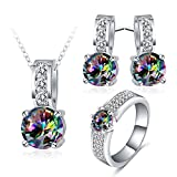 AnaZoz 3PCS Jewelry Set, Wedding Jewelry, Mysteriou Zirconia Stud Earring Dangle Women Engagement Ring Necklace Set with Gift Box Size 5