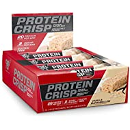 BSN Protein Crisp Bar by Syntha-6, Low Sugar Whey Protein Bar, 20g of Protein, Vanilla Marshmallow, 12 Count (Packaging may vary)