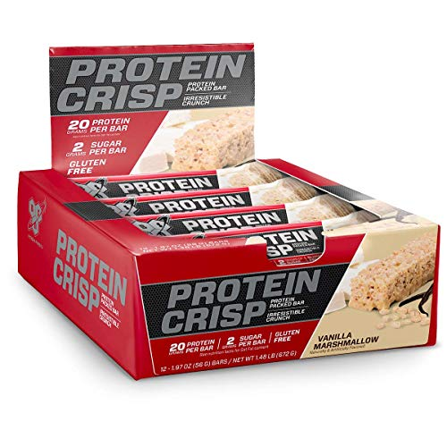 BSN Protein Crisp Bar by Syntha-6, Low Sugar Whey Protein Bar, 20g of Protein, Vanilla Marshmallow, 12 Count (Packaging may ()