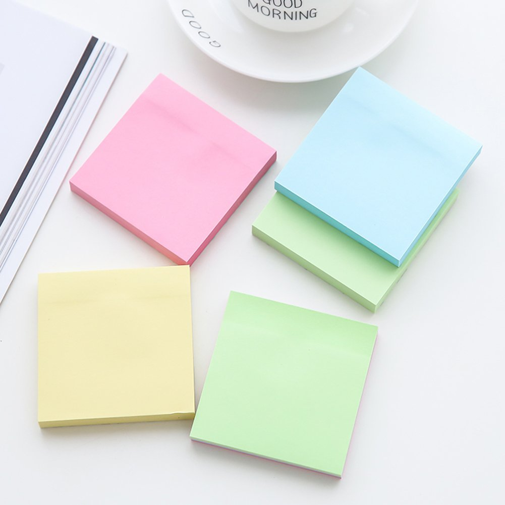 6 Pads//Pack 100 Sheets//Pad Sticky Notes 3x3 Self-Stick Notes Pads with 6 Bright Colors Easy to Post for Office Blue Home Shool