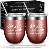 Wine Tumbler with Lid and Straw, Stemless Wine Glass Tumblers Set Stainless Steel Double Wall Vacuum Insulated Cup by BYkooc, Mug for Coffee, Office use, Travel, Champaign (12oz Rose Gold, set of 2)