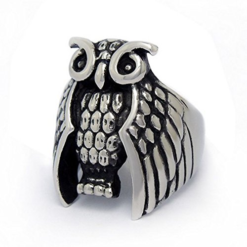 stainless steel owl ring - 2