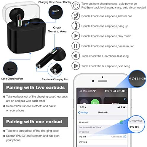 IPXOZO Wireless Earbuds,Bluetooth Earbuds Wireless Earphones Stereo Wireless Earbuds with Microphone/Charging Case Bluetooth in Ear Earphones Sports Earpieces Compatible iOS Android Phones Black