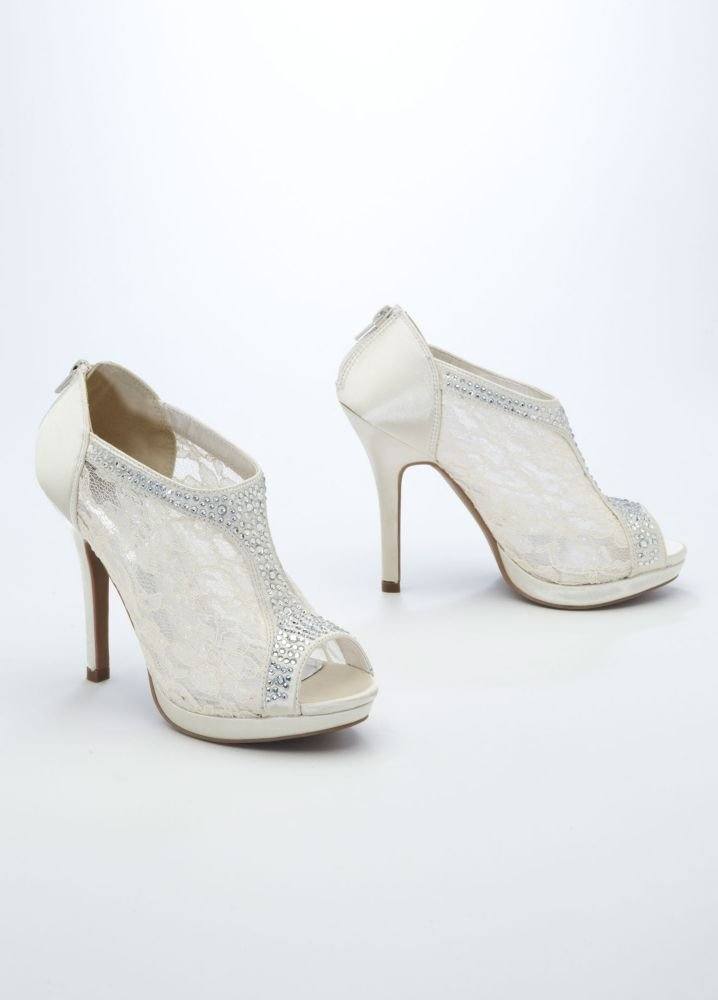 Lace High Heel Shootie with Flatback Crystals Style AYAEL9