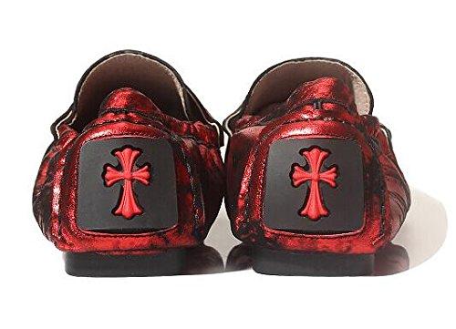 Happyshop (tm) Mens Läder Mode Slip-on Mockasin Engelska Slacker Platta Skor Röd Färg