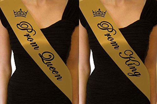 GOLD PROM QUEEN SASH & GOLD PROM KING SASH SET LEAVERS DO GRADUATION HOMECOMING EDS