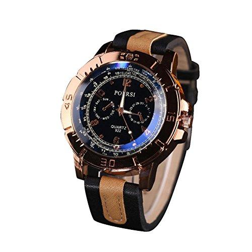 Leegor Luxury Men's Analog Quartz Watches Faux Leather Band Military Sport Wrist Dress Watch - Watch Big Polo
