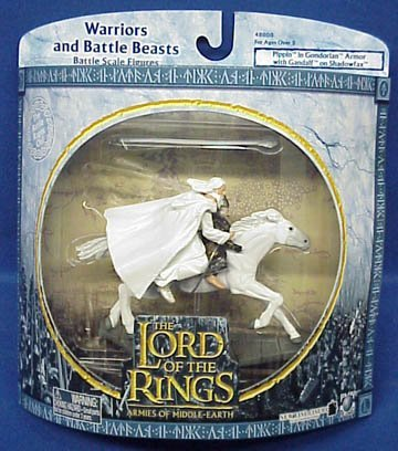 2004 - New Line / Play Along - Lord of the Rings : Armies of Middle Earth - Pippin & Gandalf on Shadowfax - Warriors & Battle Beasts - Battle Scale Figures - Out of Prodcution - Limited Edition - Collectible