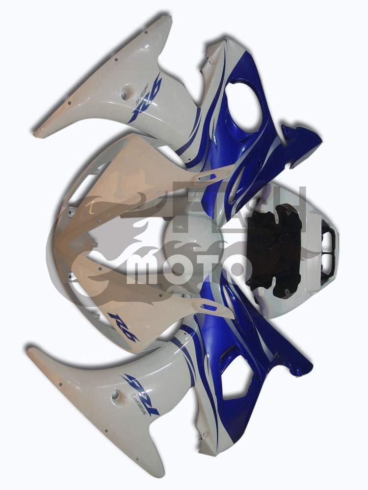 FlashMoto yamaha ヤマハ YZF-600 R6 2005用フェアリング 塗装済 オートバイ用射出成型ABS樹脂ボディワークのフェアリングキットセット (ホワイト,ブルー)   B07LF2HB96