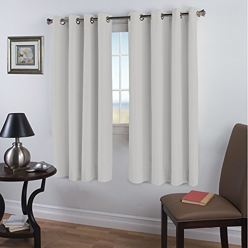 Blackout White Curtains Window Treatment Draperies - 52 x 84 Inch, 2 Pieces, Insulating Room Darkening Curtains Drapes for Bedroom / Living Room