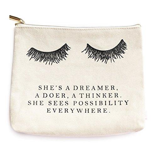 Eyelash Dreamer Makeup Bag | Inspirational Romantic Bride Gift for Her Makeup Organizer Make Up Bag Canvas Bag Toiletry Bag Cosmetic Bag Travel Accessories (Eye Gift Bags)