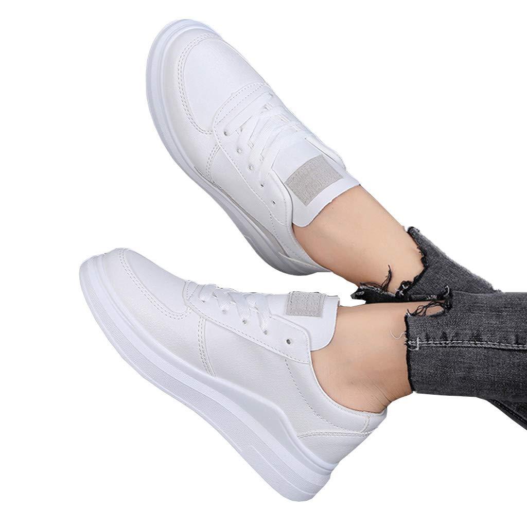 2019 Calzado Deportivo est/ándar para Mujer Calzado Casual con Cordones Caminata Deportiva para Perder Peso Calzado Deportivo de Mujer Blanco Verano Deportes para Correr