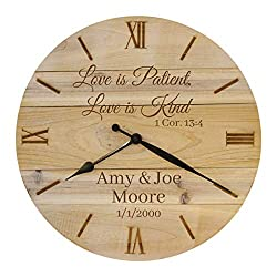 Bjerg Instruments Personalized Custom Wall Clock for Wedding or Anniversary with Bible Verse
