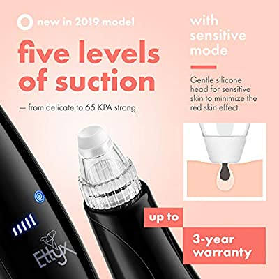 Multi-Functional Pore Vacuum Facial Skin Care Tool – Blackhead Remover & Light Therapy for Acne Scars, Discoloration, Anti Aging – Rechargeable Face Suction Pore Cleanser Extractor Tool by EttyX