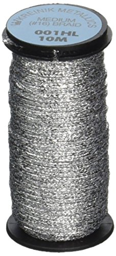- Kreinik No.16 10m Metallic Braid, Medium, Hi Lustre Silver