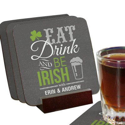 Personalized Irish Welcome Coaster Set of 4, Mahogany Holder Included
