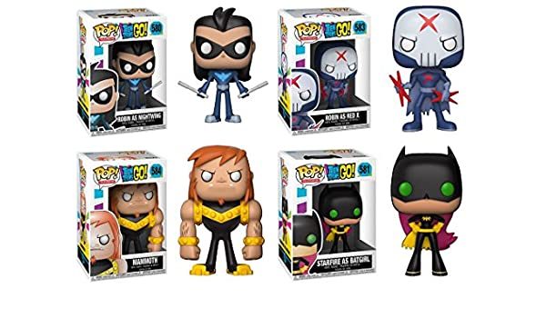 Amazon.com: Funko POP! Teen Titans Go!: Robin Ad Nightwing + Starfire As Batgirl + Robin As Red X + Mammoth - DC Vinyl Figure Set NEW: Toys & Games
