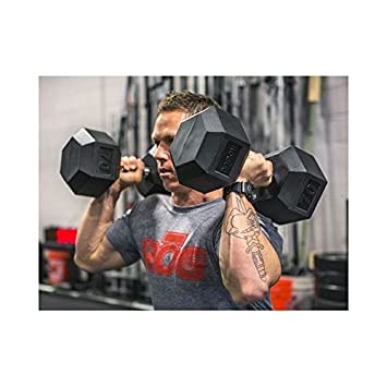 LiveUP Sports - Hex Dumbbell 10Kg Mancuerna Pesa Hexbell Pesas Entrenamiento Muscular Pesas de Mano Goma Resistente a los Golpes HexFlex Rubber: Amazon.es: ...