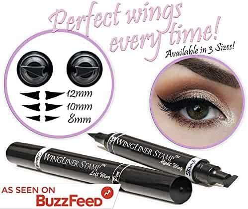 Winged Eyeliner Stamp – Wingliner by Lovoir Black, Waterproof Make Up, Smudgeproof, Long Lasting Liquid Eye liner Pen, Vamp Style Wing, 2 Pens In A Pack