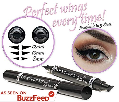 (Eyeliner Stamp – Wingliner by Lovoir/Vogue Effects Black, Waterproof Make Up, Smudgeproof, Winged Long Lasting Liquid Eye liner Pen, Vamp Style Wing, 2 Pens In A Pack (10mm Classic))