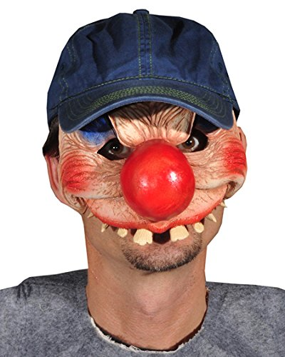 Zagone Clowning Around Mask, Clown in Baseball Hat Half (Very Scary Masks For Sale)