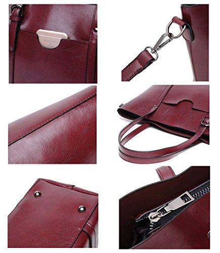 DIYNP Damen Handtaschen Schultertasche große Tote Shopper Taschen Henkeltasche Vintage Umhängetasche Schulterbeutel Rotwein b3AFGd