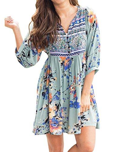 - Faisean Womens Chiffon Floral Printed Bohemian 3/4 Bell Sleeve Vintage Mexican Casual Swing Tunic Midi Dress