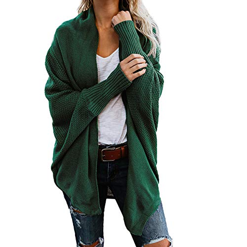 Deesee(TM)_WomenOff The Shoulder Sweater V-Neck Casual Knitted Loose Pullover (Green) ()