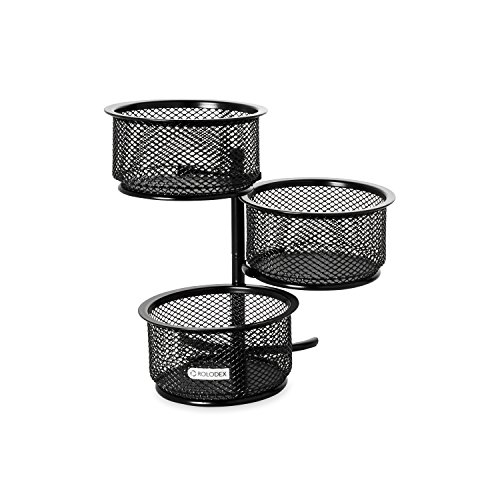 Home Office Paper Clip Holder (Rolodex Mesh Collection 3-Tier Swivel Tower Sorter, Black (62533))