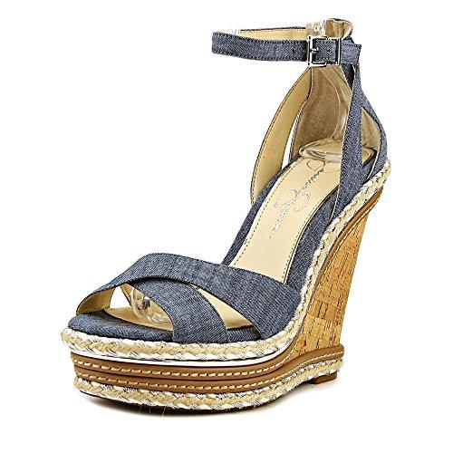 Jessica Simpson Womens Ahnika Fabric Open Toe, Chambray/Blue/Chambray, Size 9.5