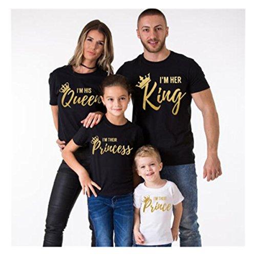 bcsy Papa Mama bebé Queen King camisa verano familia a juego trajes manga corta playera de algodón, Black-mom, Medium