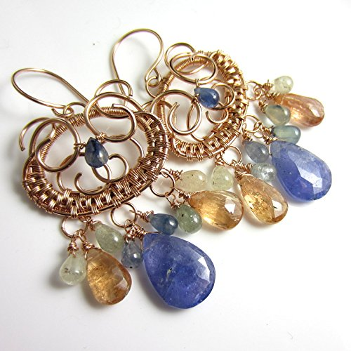- Gemstone Rain Earrings - Tanzanite, Sapphire and Imperial Topaz in 14k Rose Gold Filled Wrapped Chandeliers
