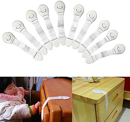 mycs 10 Pack bebé correa armario Lock – Cierre de seguridad para niños Latch para Armario: Amazon.es: Bebé