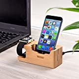 Tendak Apple Watch Charging Stand - with 3 USB Port 3.0 Hub Bamboo Wood Charging Dock Station for 38mm and 42mm iWatch & iPhone 6 6 plus 5S 5 7 7 plus and Other Smartphone