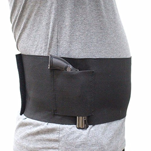 Depring Concealed Carry Belly Band Pistol Holster Undercover Adjustable Waist Slimming Belt Handgun Holster with 2 Magazine Pouches Fits 38