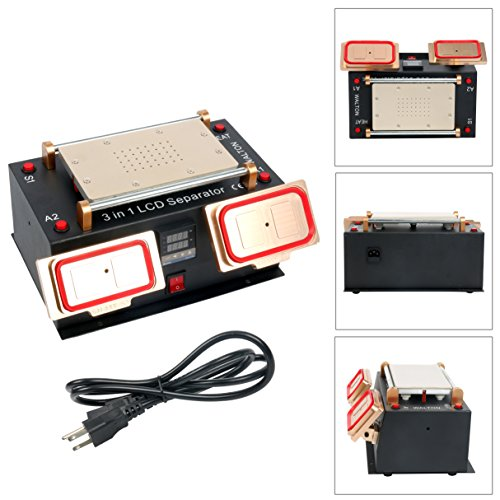 3 in 1 Middle Bezel Frame Separator Machine Cell Phone LCD Glass Plate Build-in Pump Vacuum Repair LCD Screen for Smart Mobile Phone 7 Inch and Below by YaeCCC