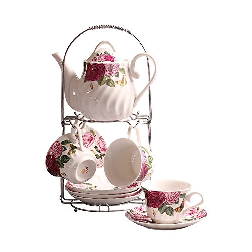 ufengke 9 Piece European Ceramic Tea Set, Bone China Tea Service Coffee Set With Metal Holder, For Wedding And Gift, Red Rose Flower (Hand Painted China Plate)
