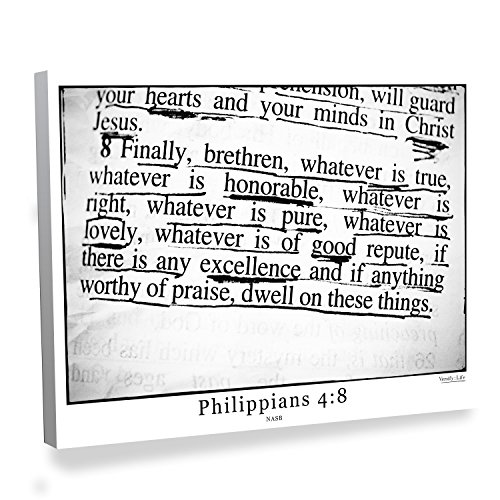 Philippians 4:8 Bible Verse Canvas Art