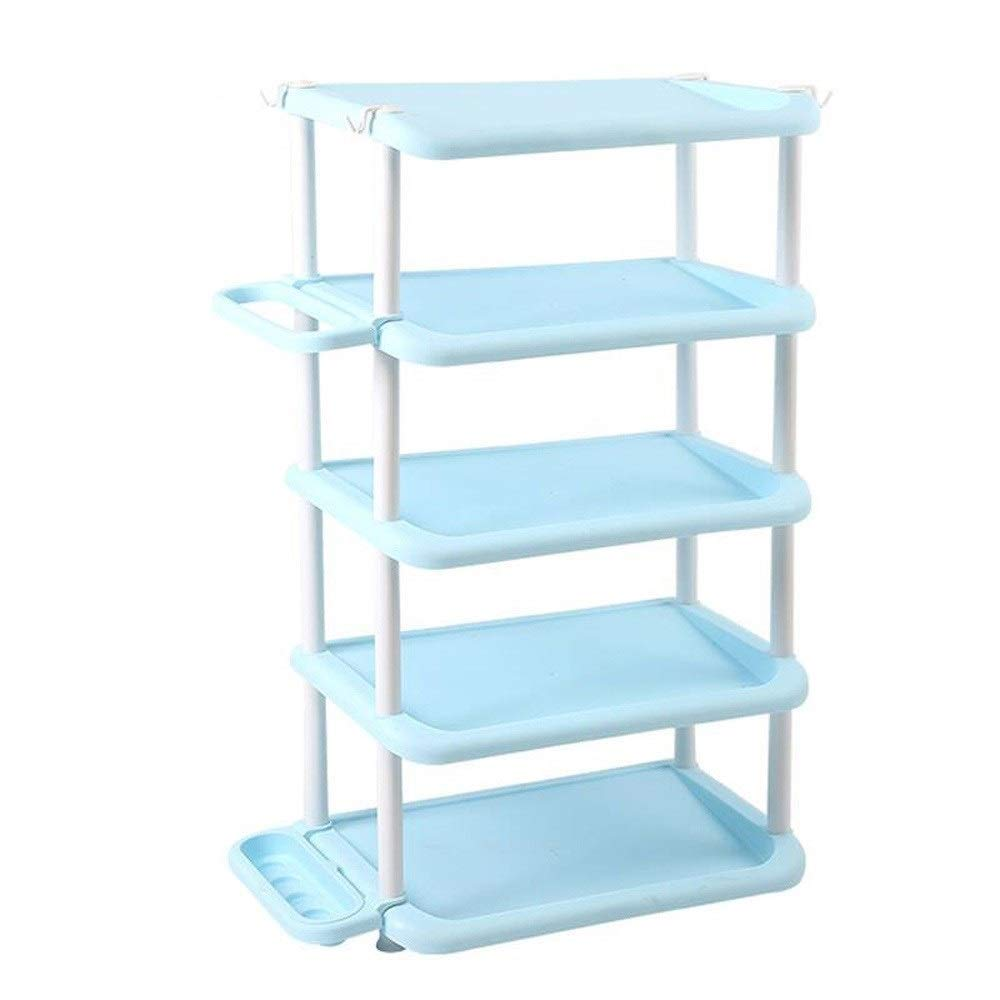 SCDXJ Shoe Rack - Simple Furniture Shoe Rack Dormitory Multi-Functional Multi-Layer Assembly Plastic Dust-Proof Shoe Cabinet Large Capacity Storage Rack Rack (Color : Blue, Size : 5 Floors) by SCDXJ
